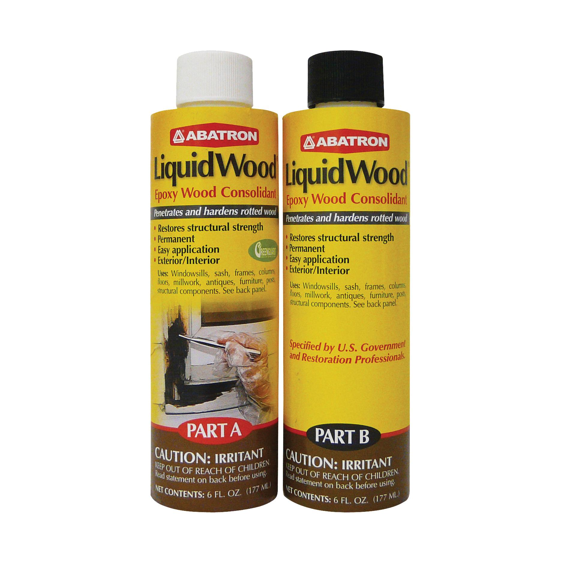 Picture of ABATRON LiquidWood LWAB6OR Wood Filler, Liquid, Faint, Slightly Aromatic Part A, Irritating Ammonia Part B, Clear
