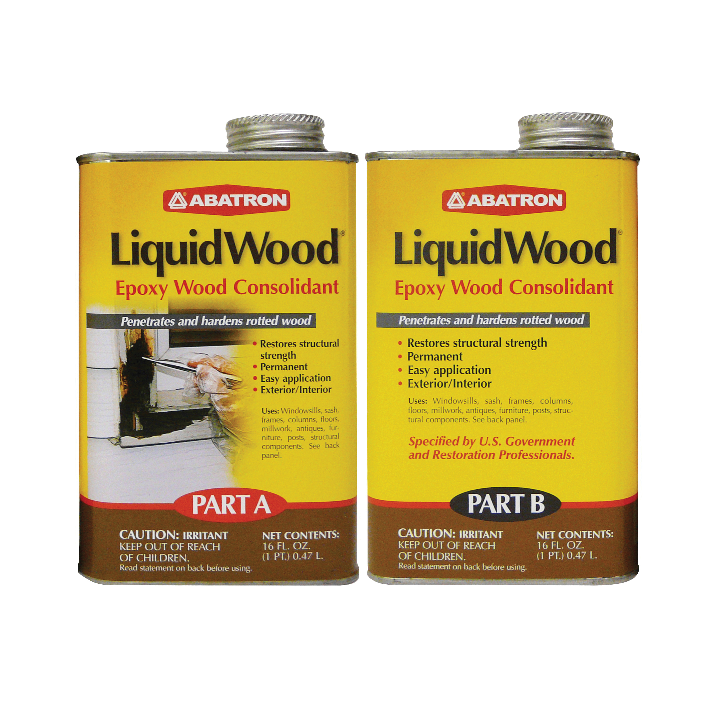 Picture of ABATRON LiquidWood LW2PKR Wood Filler, Liquid, Faint, Slightly Aromatic Part A, Irritating Ammonia Part B, Clear