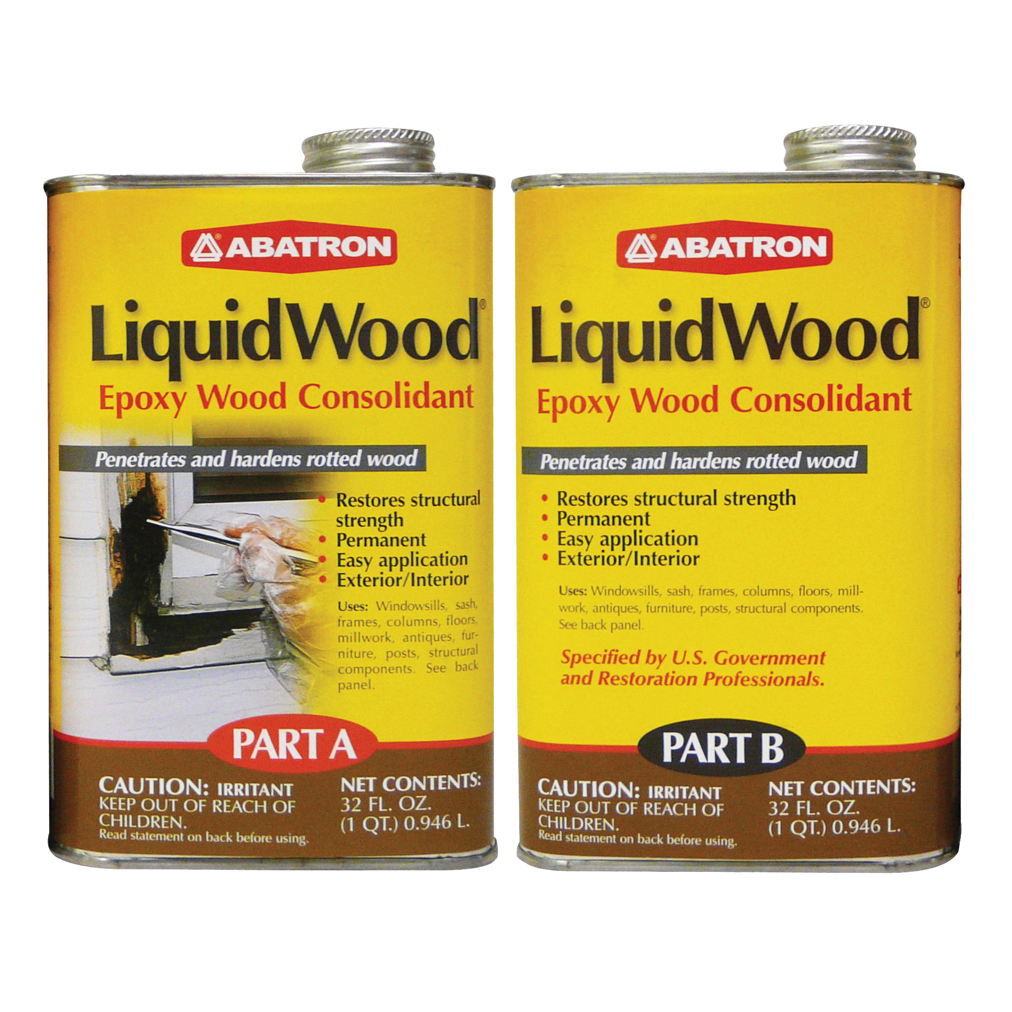 Picture of ABATRON LiquidWood LW2QKR Wood Filler, Liquid, Faint, Slightly Aromatic Part A, Irritating Ammonia Part B, Clear
