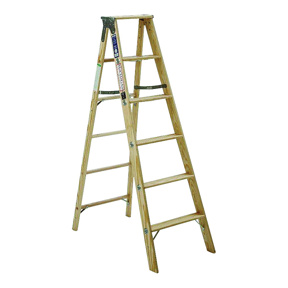 Picture of MICHIGAN LADDER 1311-06 Step Ladder, 250 lb, Type I Duty Rating, Wood, Silk