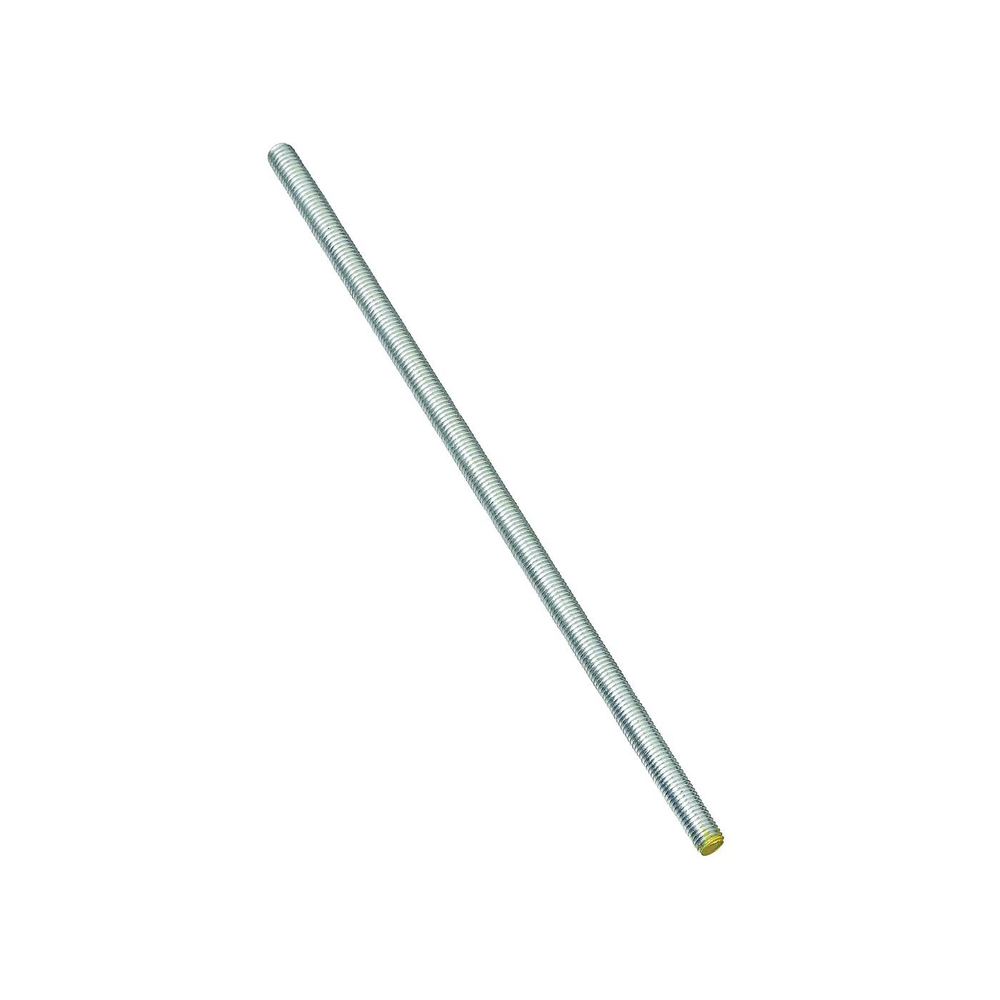 Picture of Stanley Hardware 179432 Threaded Rod, 3/8-16 Thread, 24 in L, A Grade, Steel, Zinc, UNC Thread