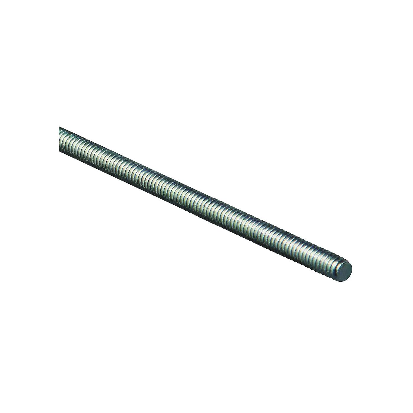 Picture of Stanley Hardware 179499 Threaded Rod, 1/4-20 Thread, 36 in L, A Grade, Steel, Zinc, UNC Thread