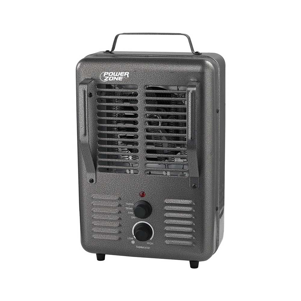 Picture of PowerZone DQ1001 Deluxe Portable Utility Heater, 12.5 A, 120 V, 1300/1500 W, 2-Heating Stage, Gray