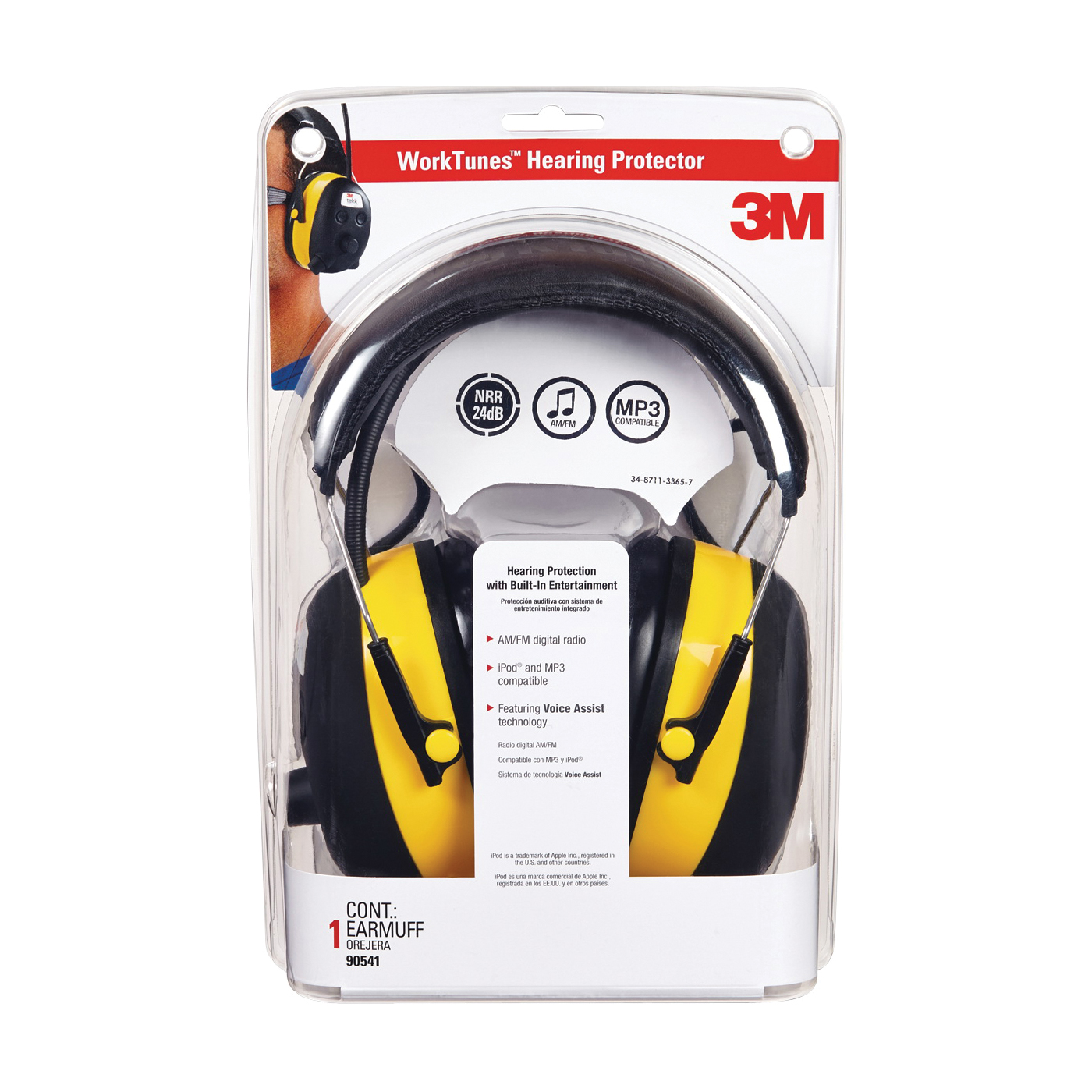 Picture of 3M TEKK Protection 90541 Earmuff, 22 dB NRR, Black/Yellow