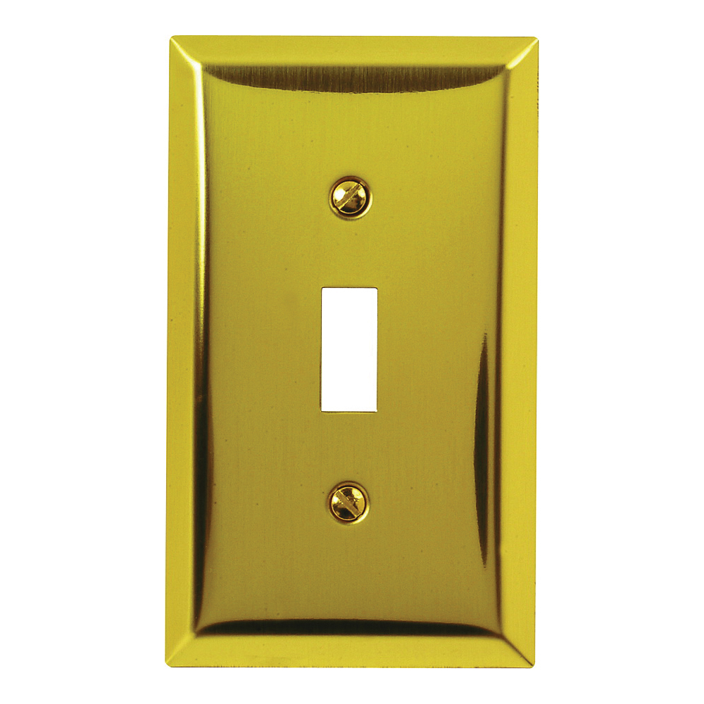 Picture of Amerelle 163TBR Wallplate, 4-15/16 in L, 2-7/8 in W, 1-Gang, Steel, Polished Brass