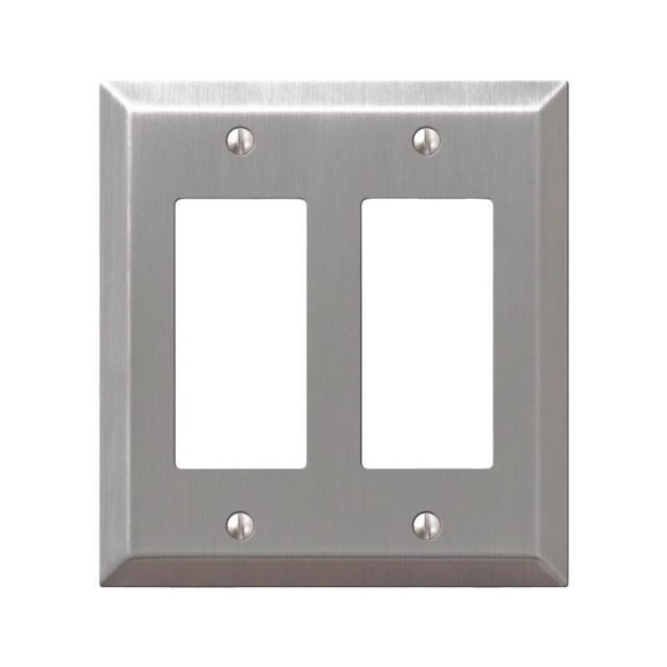 Picture of AmerTac Century 163RRBN Wallplate, 4-15/16 in L, 4-9/16 in W, 2-Gang, Steel, Brushed Nickel