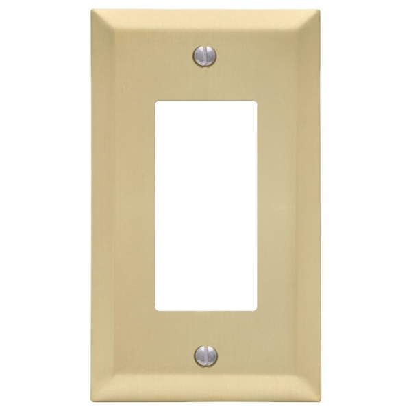 Picture of Amerelle Century 163RSB Wallplate, 4-15/16 in L, 2-7/8 in W, 1-Gang, Steel, Gold, Satin Brass