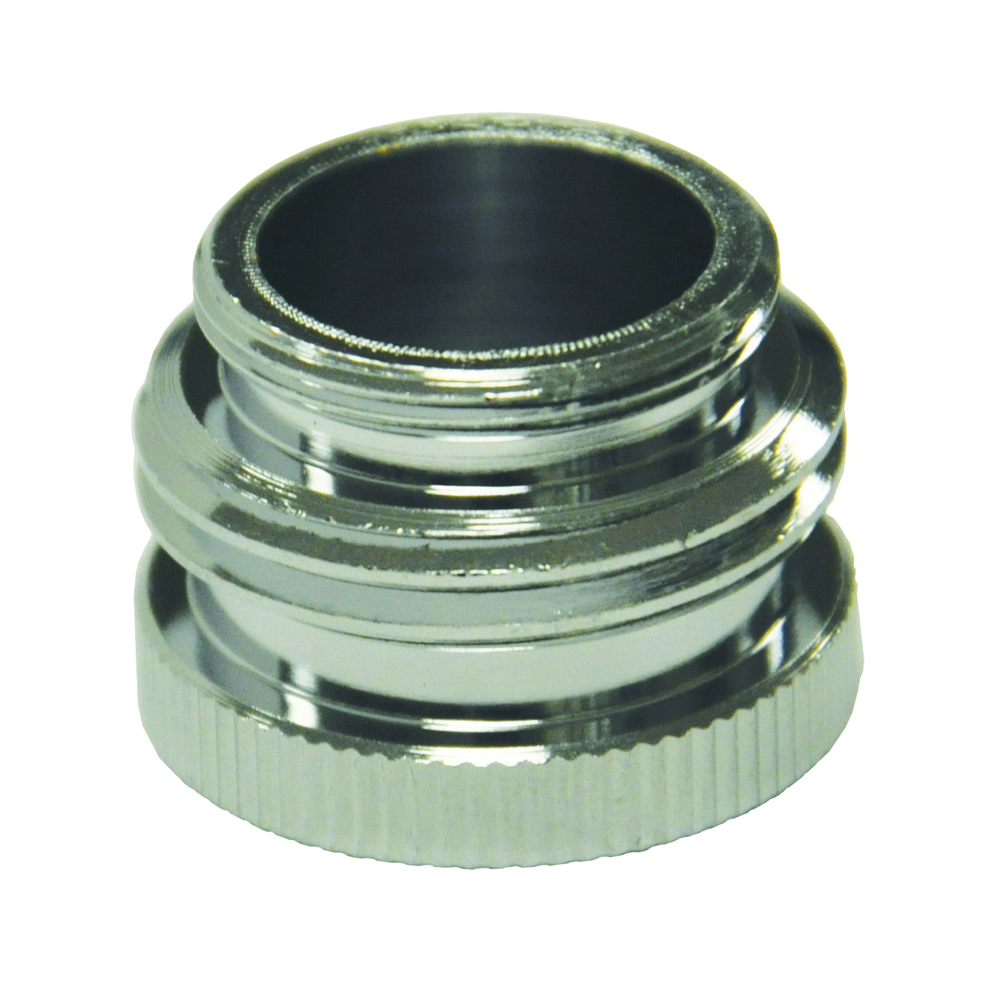 Picture of Danco 10509 Hose Aerator Adapter, 55/64-27 x 3/4 x 55/64-27 in, Male/GHTM x Female, Brass, Chrome