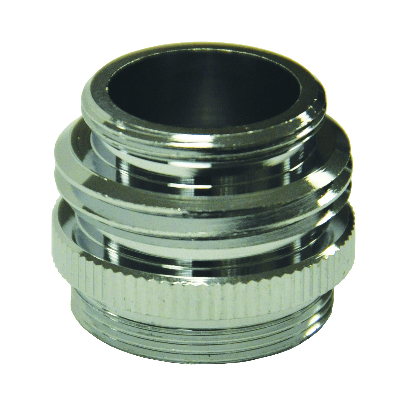 Picture of Danco 10513 Hose Adapter, 15/16-27, 55/64-27 x 3/4, 55/64-27 in, Male/Female x GHTM/Male, Brass, Chrome