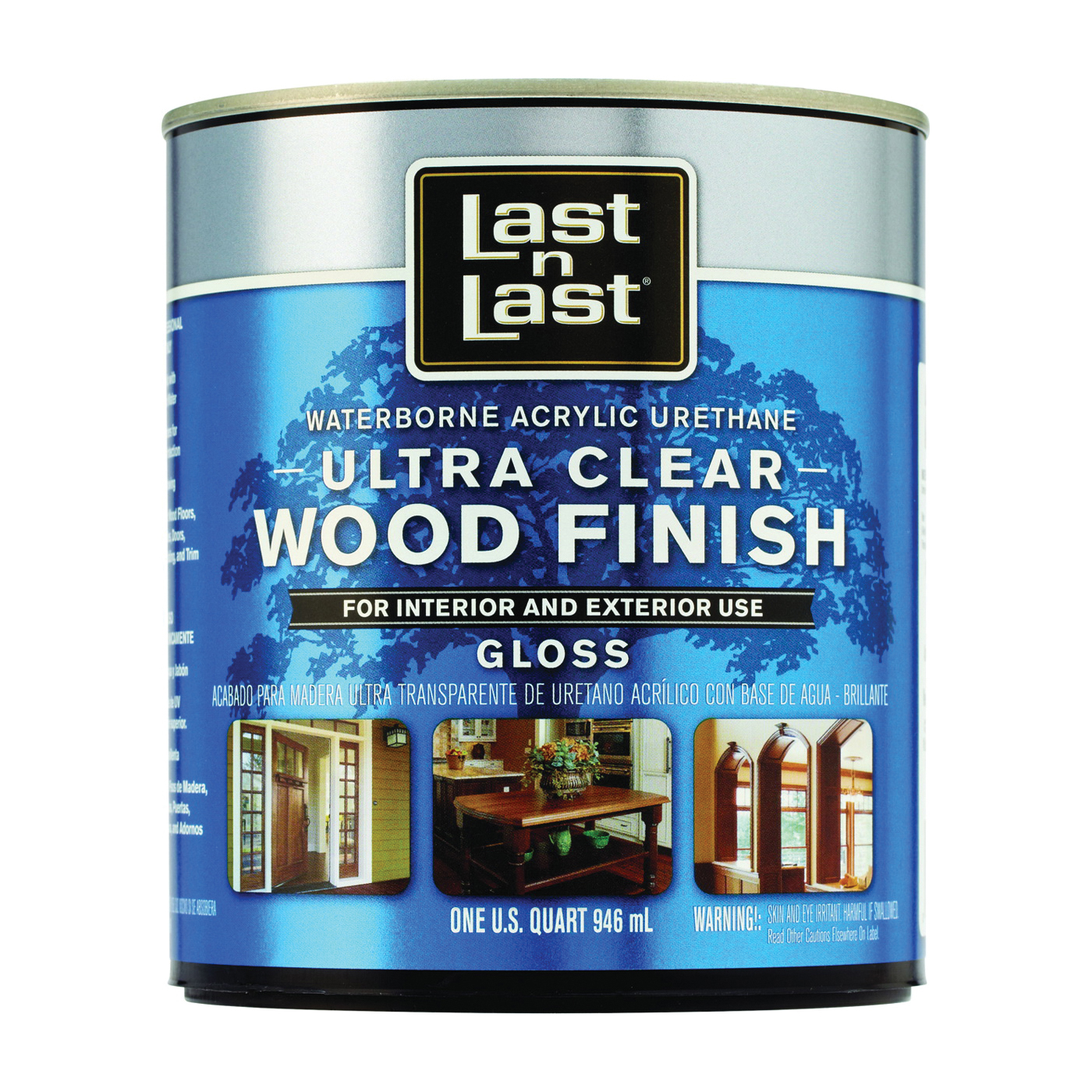 Picture of Last n Last 13004 Ultra Clear Wood Finish, Gloss, Liquid, Ultra Clear, 1 qt, Can