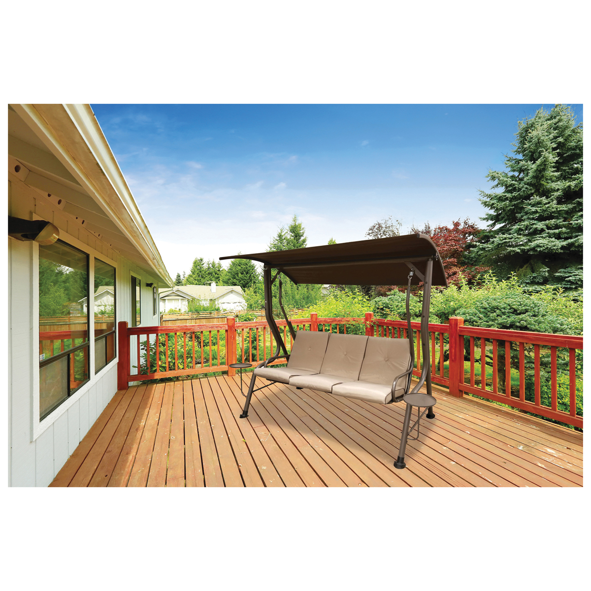 Picture of Seasonal Trends SW013PJ33CN81 Swing, 600 lb, 3 Seating, Polyester Cushion, PP Foam Pillow