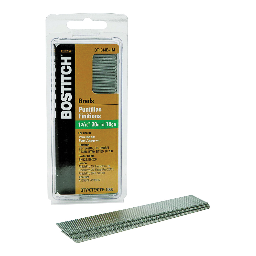 Picture of Bostitch BT1314B-1M Brad Nail, 1-3/16 in L, 18 Gauge, Steel, Coated, Smooth Shank, 1000/BX