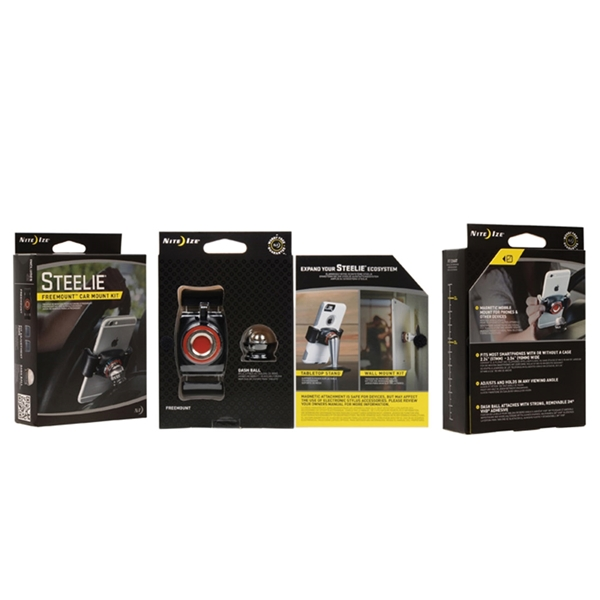 Picture of Nite Ize Steelie STFD-01-R8 Car Mount Kit, Stainless Steel, Black/Silver