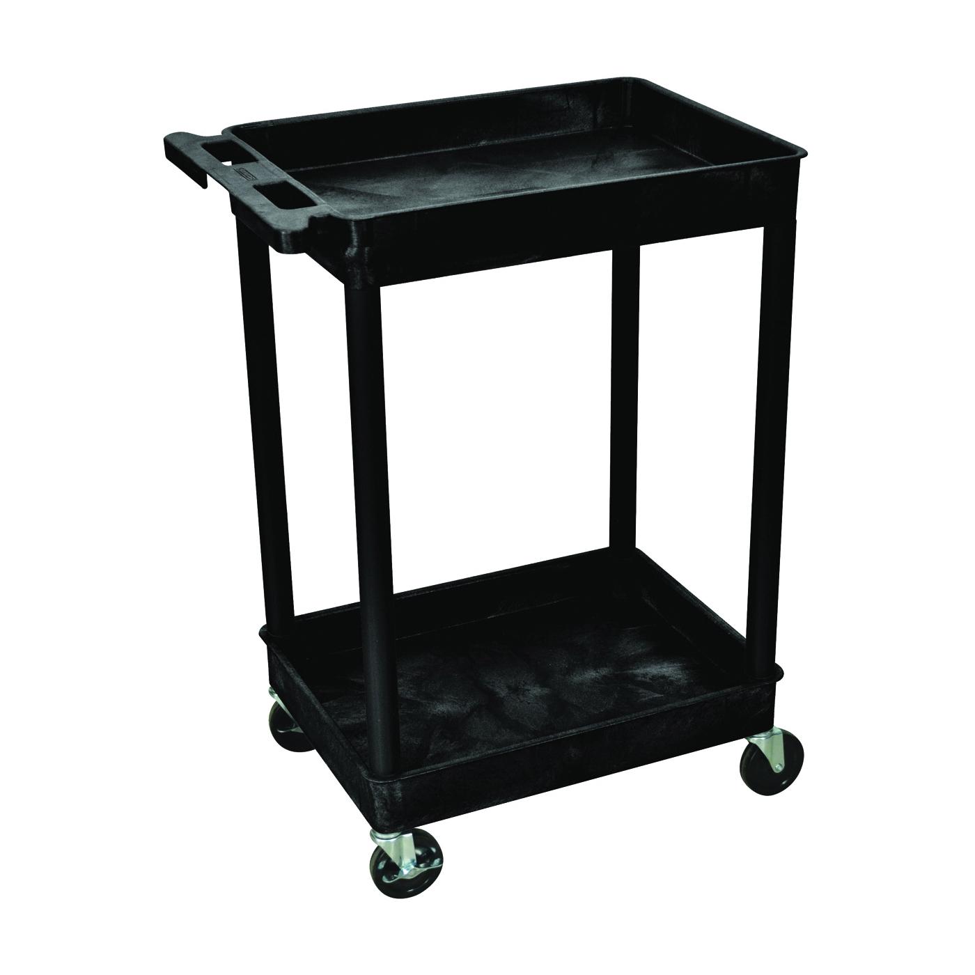 Picture of LUXOR RPSTCS11-B Utility Tub Cart, 300 lb, 2-Shelf, Black, 24 in OAW, 37-1/2 in OAH