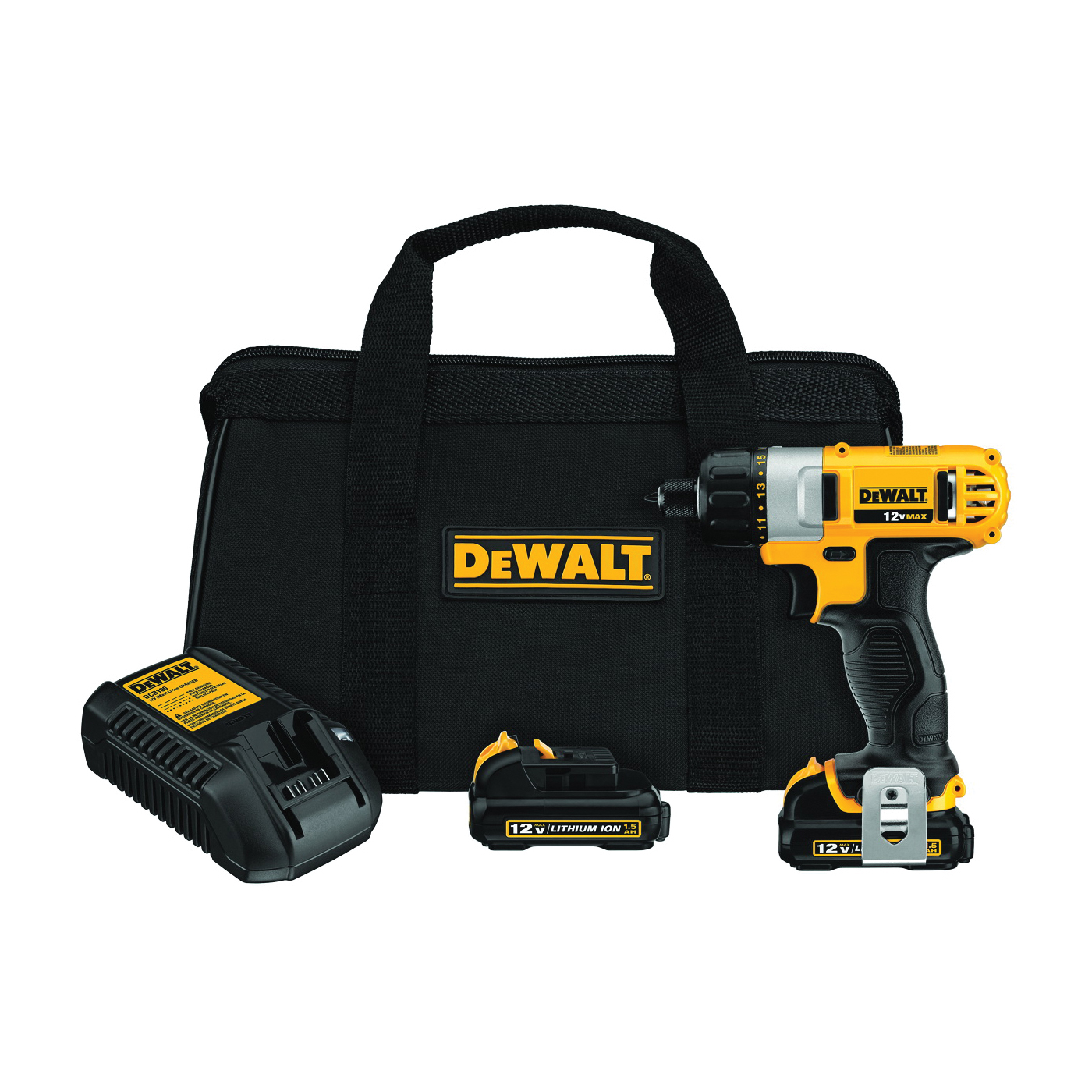 Picture of DeWALT DCF610S2 Screwdriver Kit, Kit, 12 V Battery, 1.3 Ah, 1/4 in Chuck, Keyless Chuck, 0 to 1050 rpm Speed