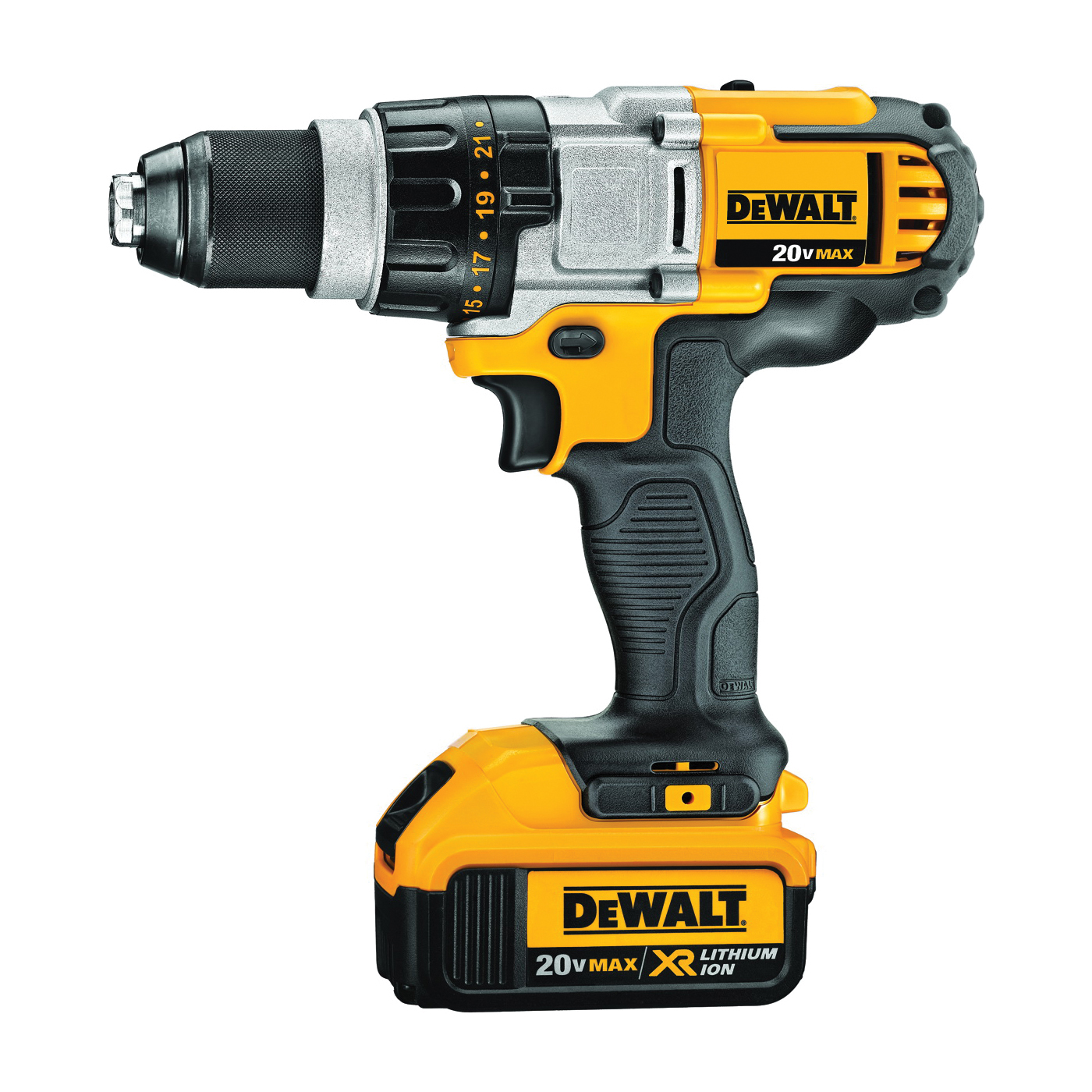 Picture of DeWALT DCD980M2 Drill/Driver Kit, Kit, 20 V Battery, 1/2 in Chuck, Ratcheting Chuck, Battery Included: Yes