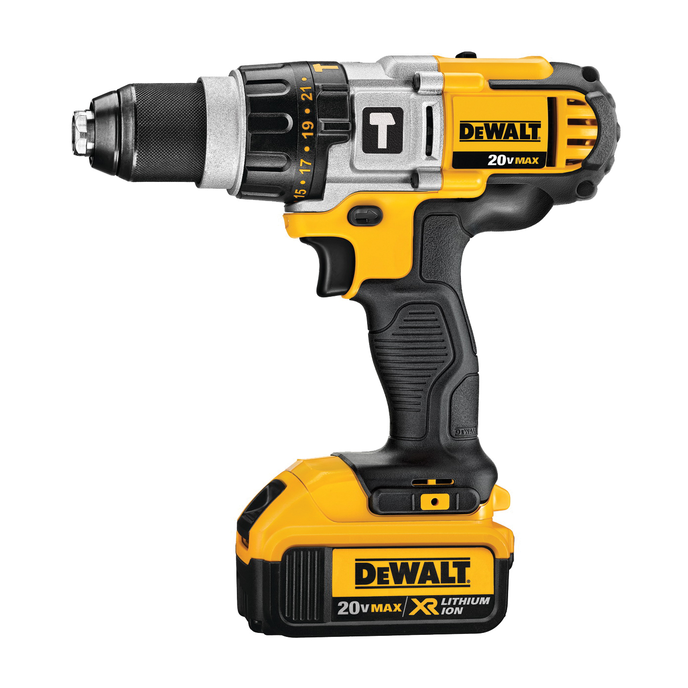 Picture of DeWALT DCD985M2 Premium Hammer Drill Kit, Kit, 20 V Battery, 4 Ah, 1/2 in Chuck, Ratcheting Chuck