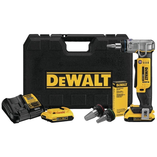 Picture of DeWALT DCE400D2 PEX Expander Tool Kit, Yellow, For: Milwaukee and Uponor Heads