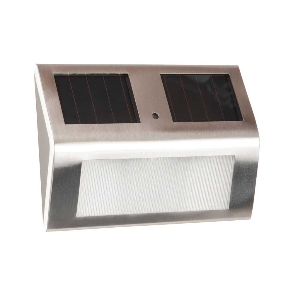 Picture of Boston Harbor 24182 Fence Wedge Light, Ni-CD Battery, AA Battery, 2-Lamp, LED Lamp, Stainless Steel