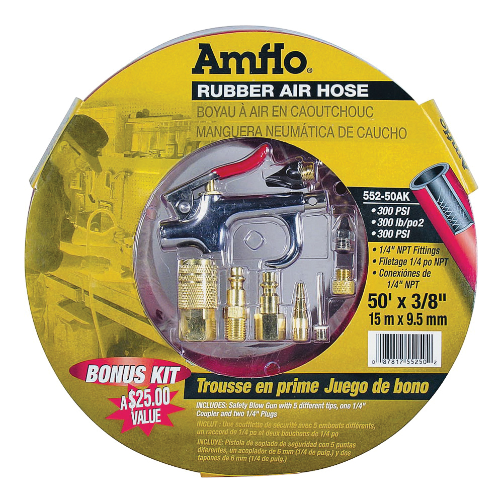 Picture of Amflo 552-50AK-5 Air Hose Kit, 3/8 in OD, 50 ft L, MNPT, 300 psi Pressure, Rubber, Red