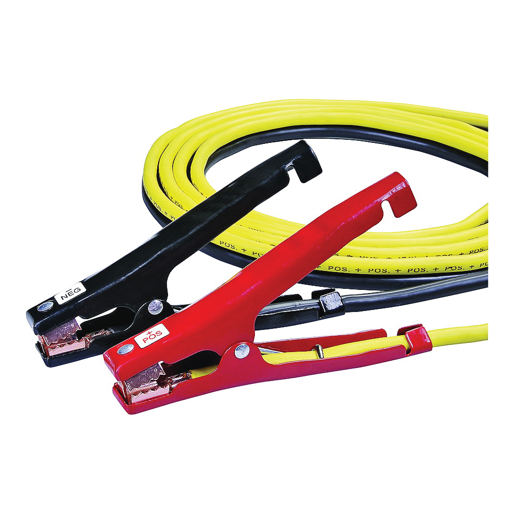 Picture of ProSource 081602 Booster Cable, 8 AWG Wire, 4 -Conductor, Clamp, Clamp, Stranded, Yellow/Black Sheath, Color Box