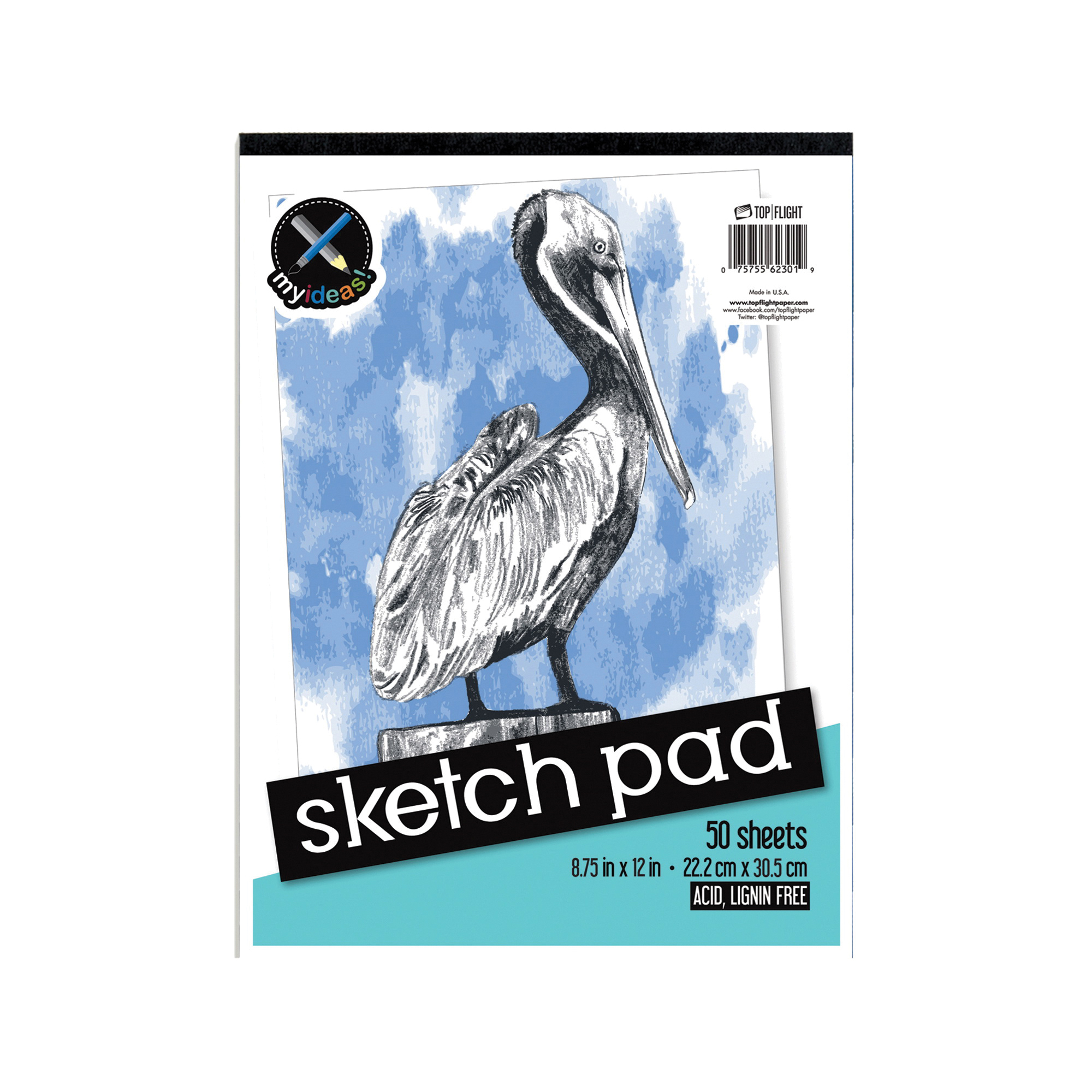 Picture of TOP FLIGHT 4807103 Sketch Pad, Drawing Sheet, 8-3/4 in L x 12 in W Sheet, 50-Sheet