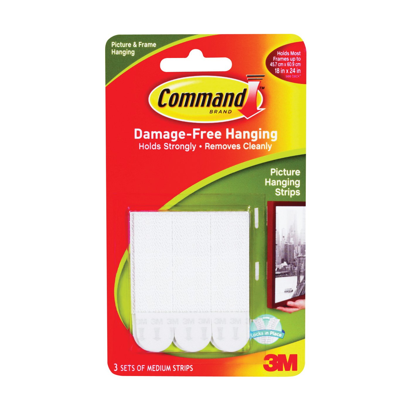 Picture of Command 17201 Picture Hanging Strip, 3/64 in Thick, Paper Backing, White, 3 lb