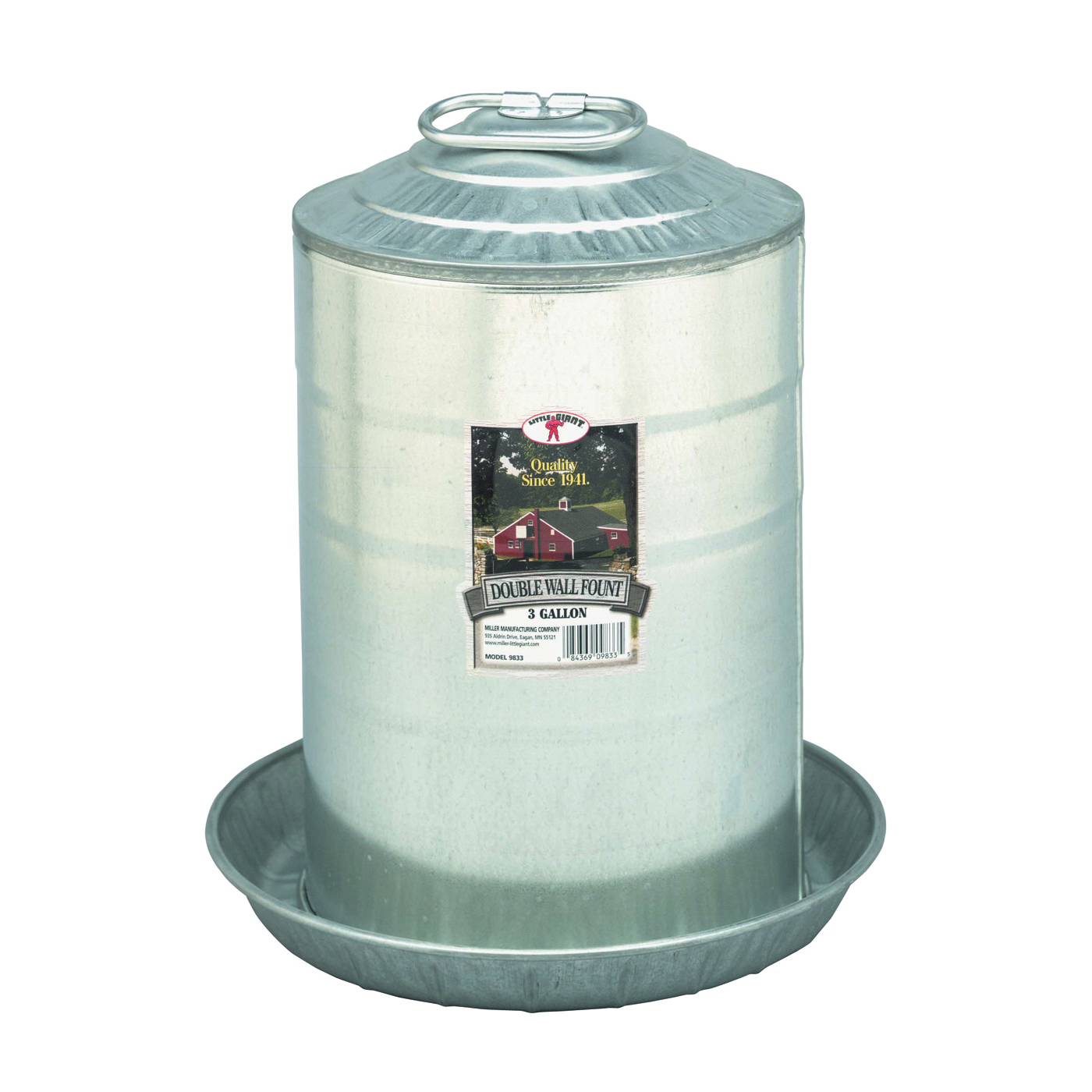 Picture of Little Giant 9833 Poultry Fount, 3 gal Capacity, Galvanized Steel, Floor, Ground Mounting