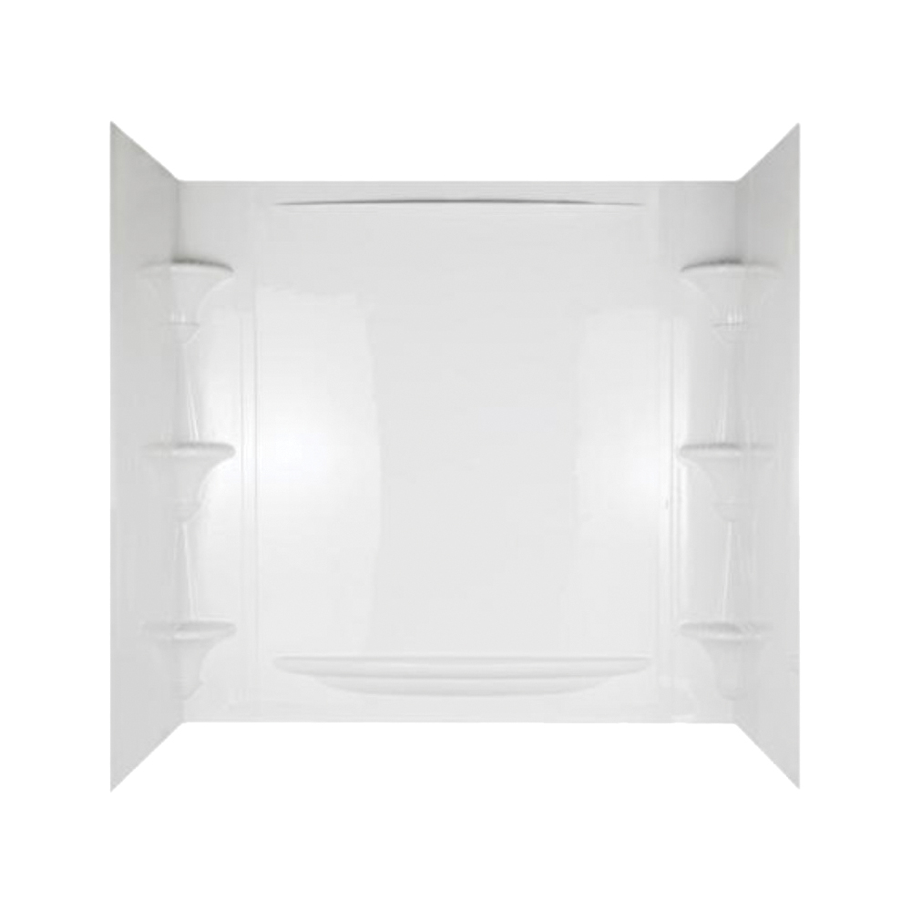 Picture of DELTA Vesuvia 39744-HD Bathtub Wall Set, 58 in H, 53-3/8 in W, Polycomposite, White, Adhesive Installation