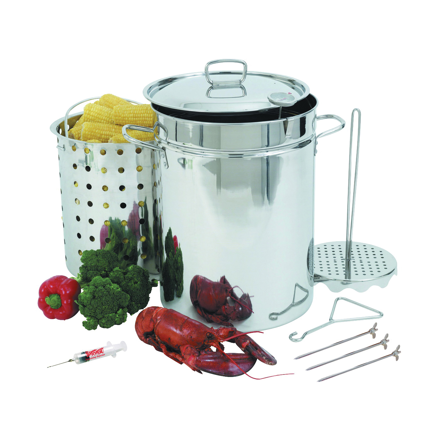 Picture of Bayou Classic 1118 Turkey Fryer Pot, 32 qt Capacity, 22 Gauge, Stainless Steel