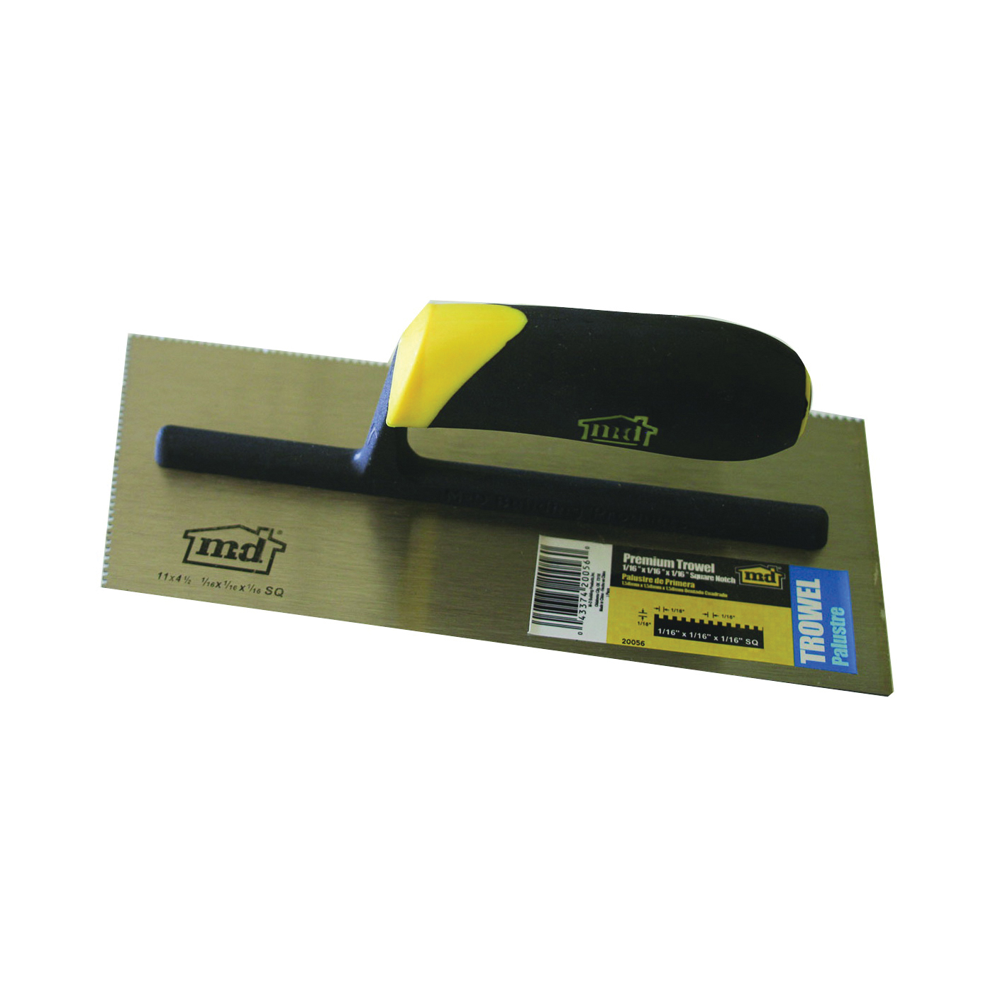 Picture of M-D 20056 Tile Installation Trowel, 11 in L, 4-1/2 in W, Square Notch, Comfort Grip Handle