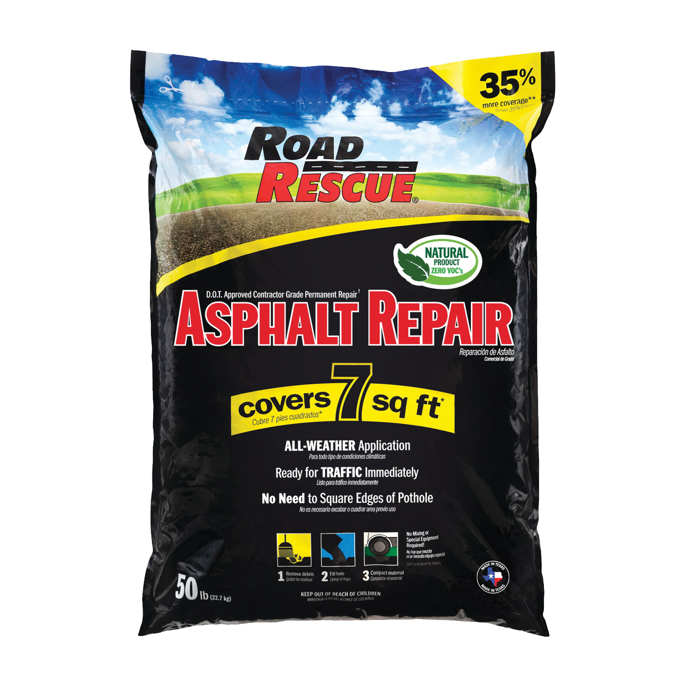 Picture of Road Rescue AP-50 Asphalt Patch, Black, 50 lb Package, Bag