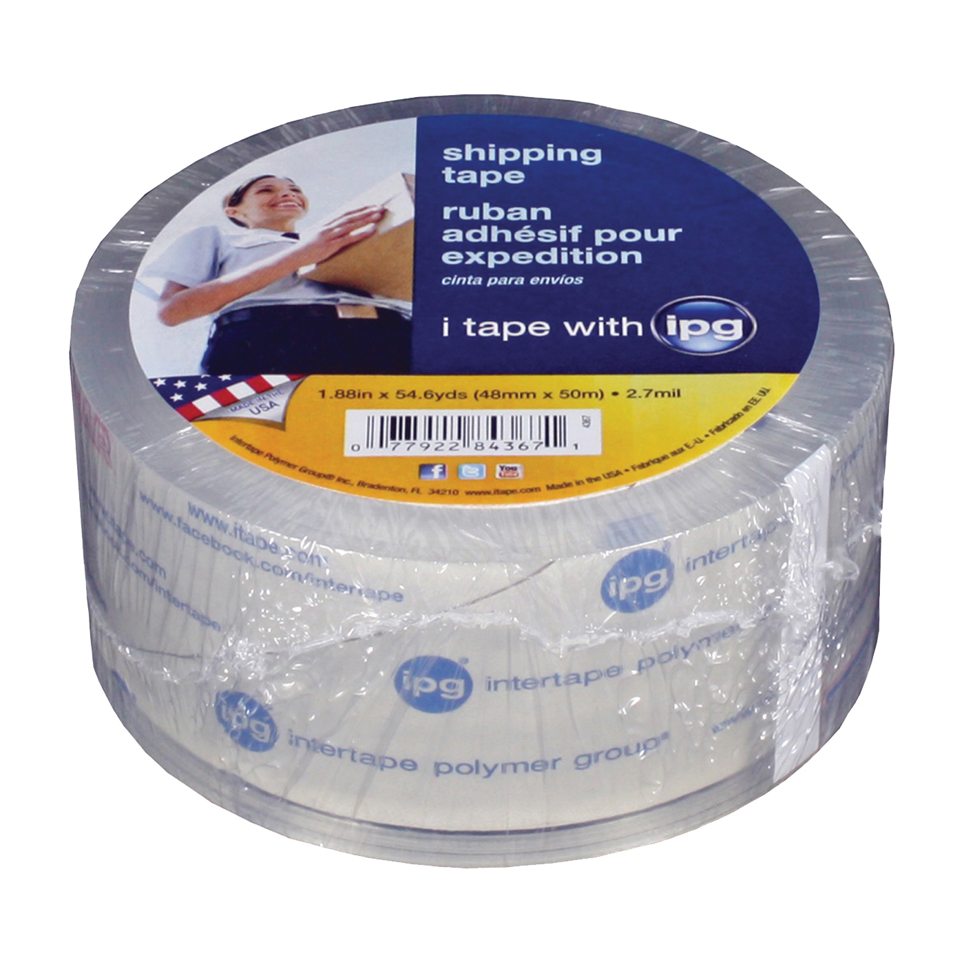 Picture of IPG 4367 Shipping Tape, 54.6 yd L, 1.88 in W, Polypropylene Backing, Clear