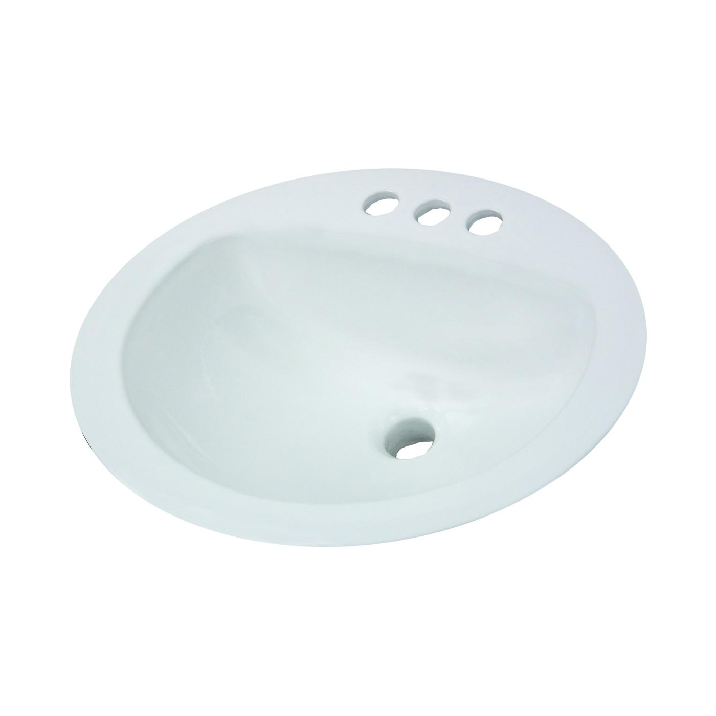 Picture of American Standard AQUALYN 0476.028.021 Countertop Sink, Oval Basin, 1-Deck Hole, 20-3/8 in OAW, 17-3/8 in OAH
