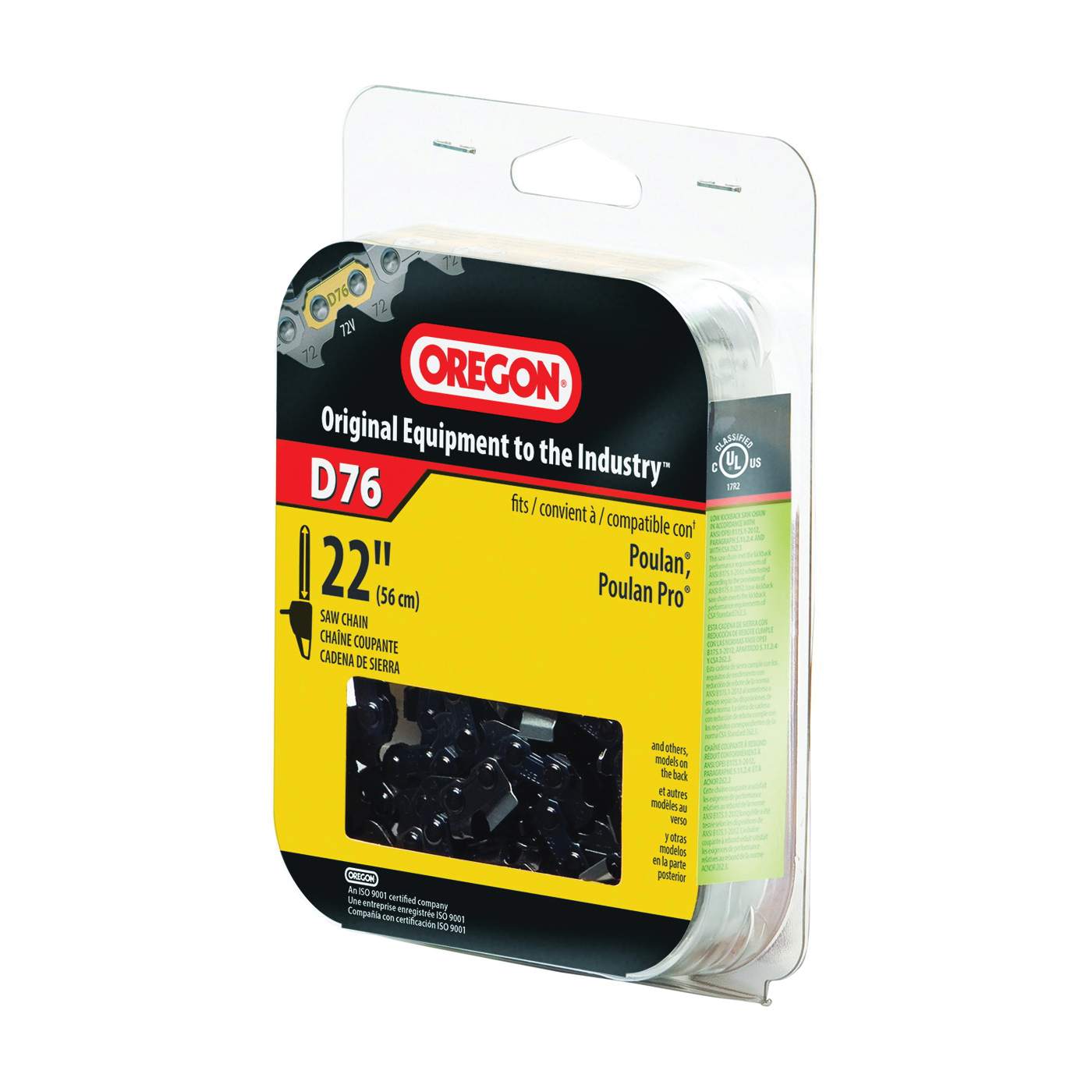 Picture of Oregon D76 Chainsaw Chain, 22 in L Bar, 0.05 Gauge, 3/8 in TPI/Pitch, 76 -Link