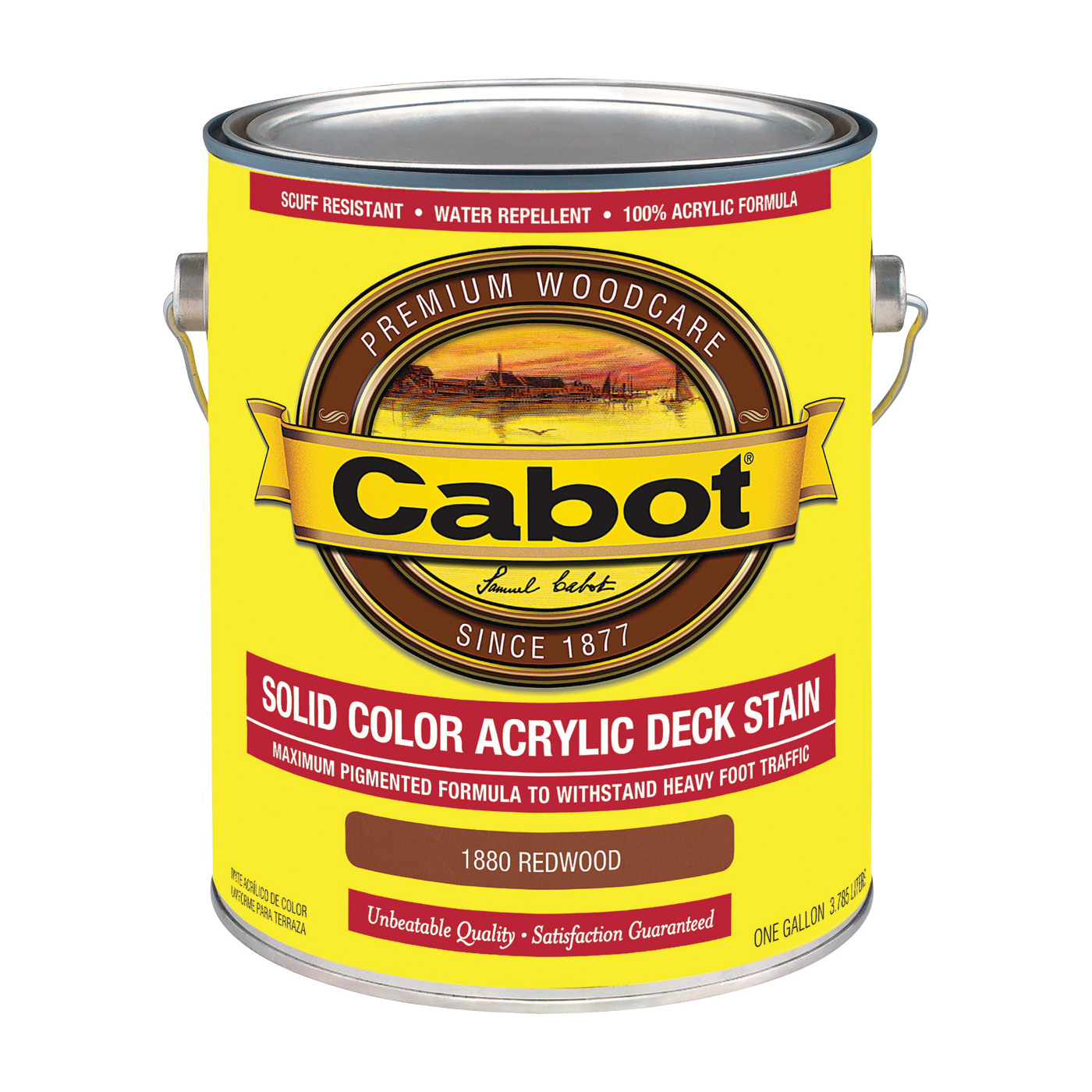 Picture of Cabot 1800 Series 1880 Solid Color Decking Stain, Low-Lustre, Redwood, Liquid, 1 gal, Can