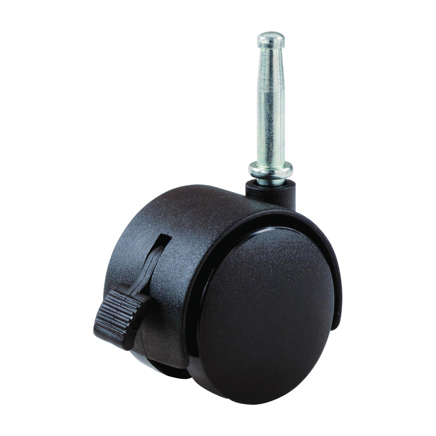 Picture of Shepherd Hardware 9406 Swivel Caster with Brake, 2 in Dia Wheel, Nylon Wheel, Black, 75 lb