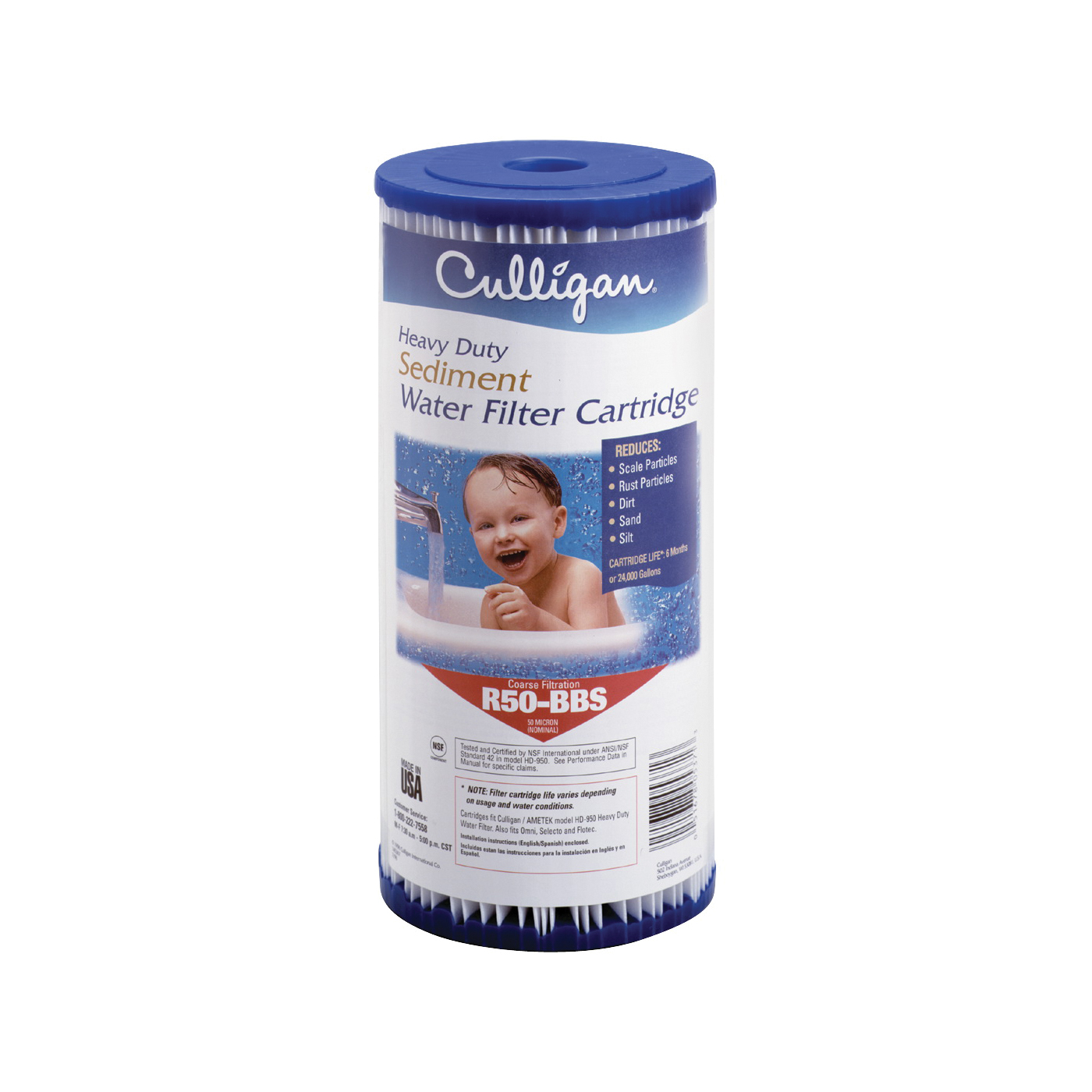 Picture of Culligan R50-BBSA Whole House Filter Cartridge, 50 um Filter, Pleated Polyester Cartridge Filter Media