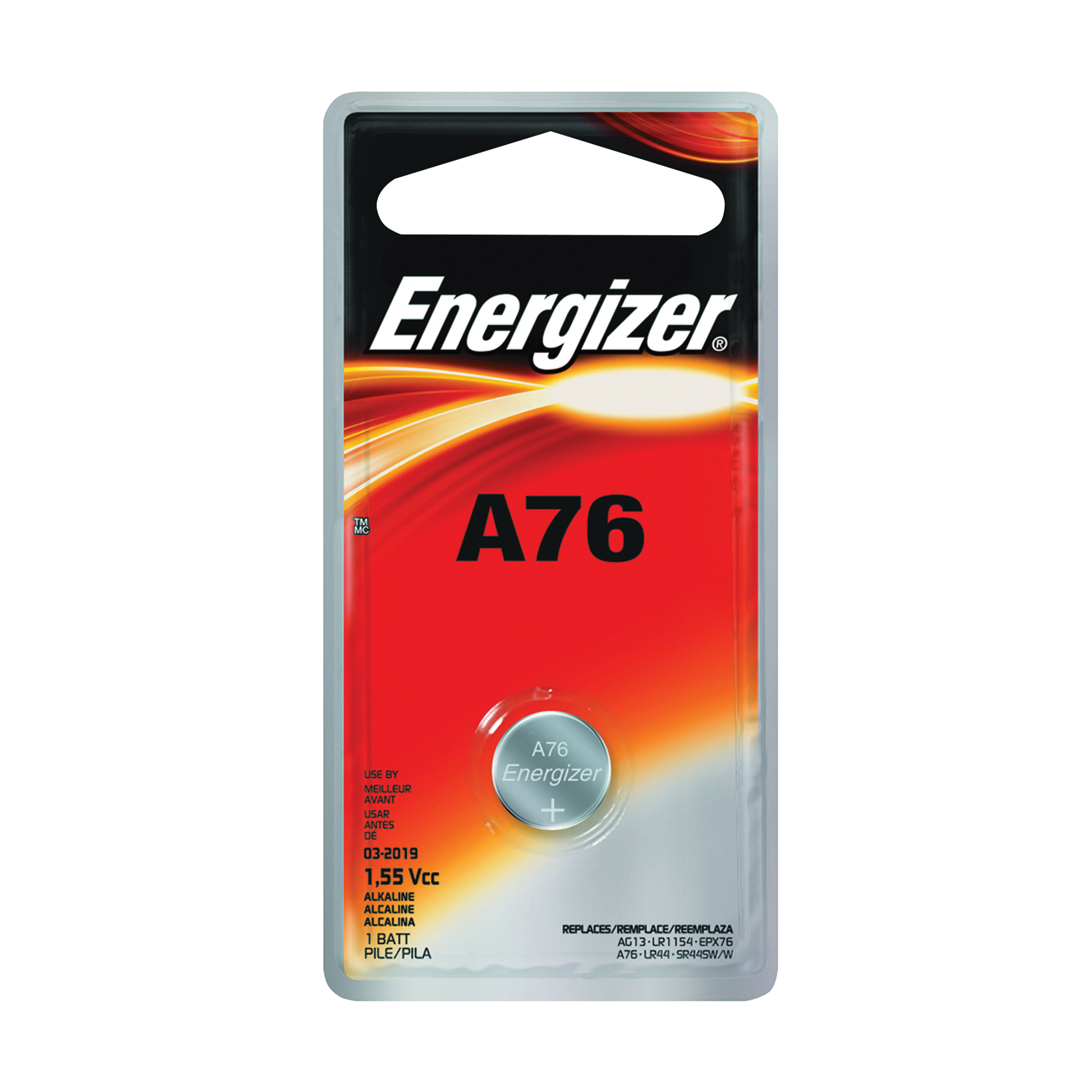 Picture of Energizer A76BPZ Alkaline Battery, 1.5 V Battery, 118 mAh, A76 Battery, Manganese Dioxide