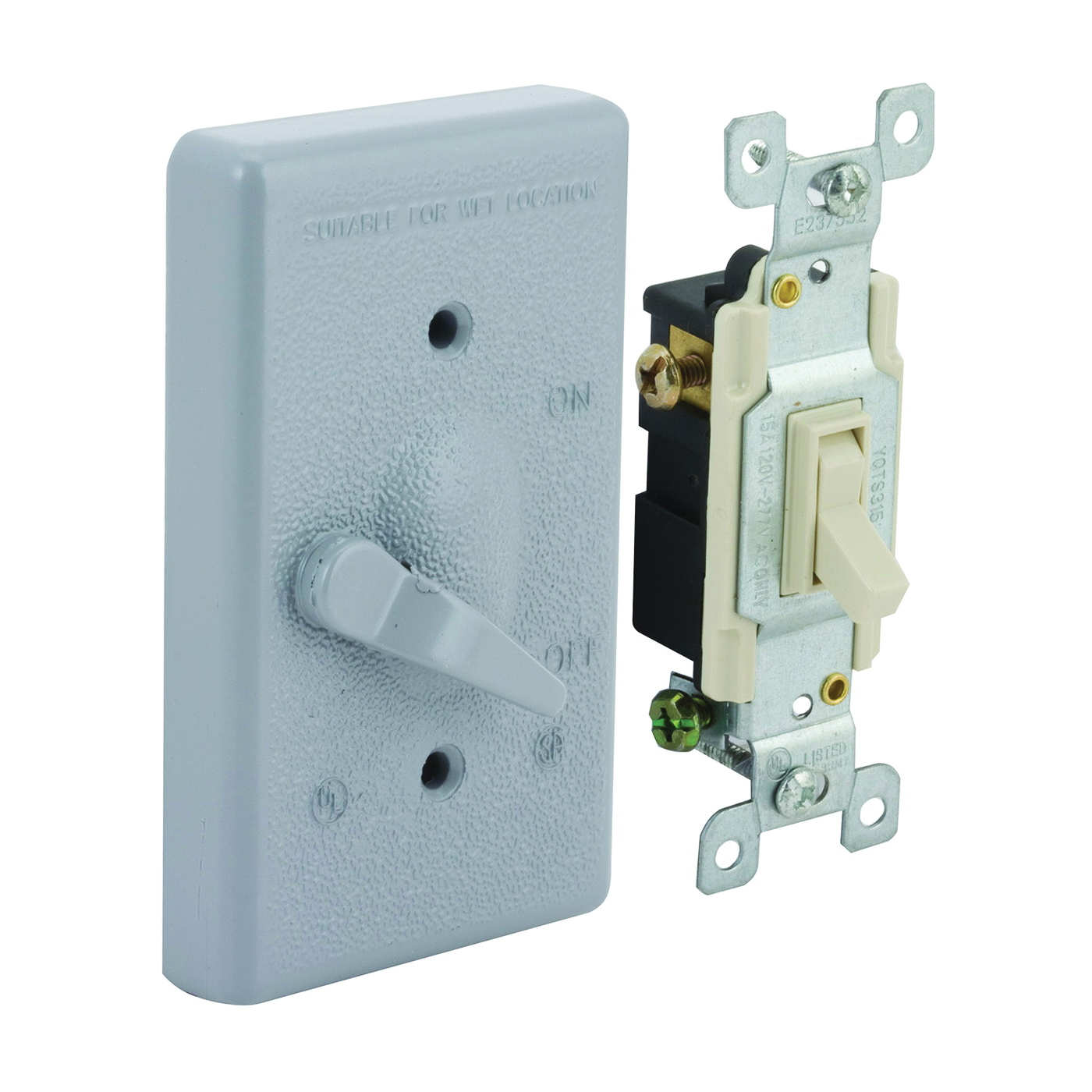 Picture of HUBBELL 5141-5 Toggle Cover, 4-39/64 in L, 2-53/64 in W, Metal, Gray, Powder-Coated