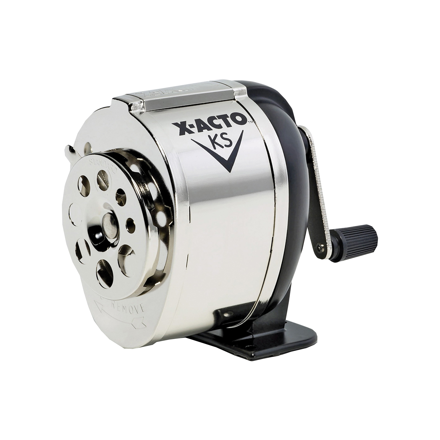 Picture of X-Acto 1031 Pencil Sharpener, Hardened Steel Blade, Metal Housing Material, Black/Chrome Housing