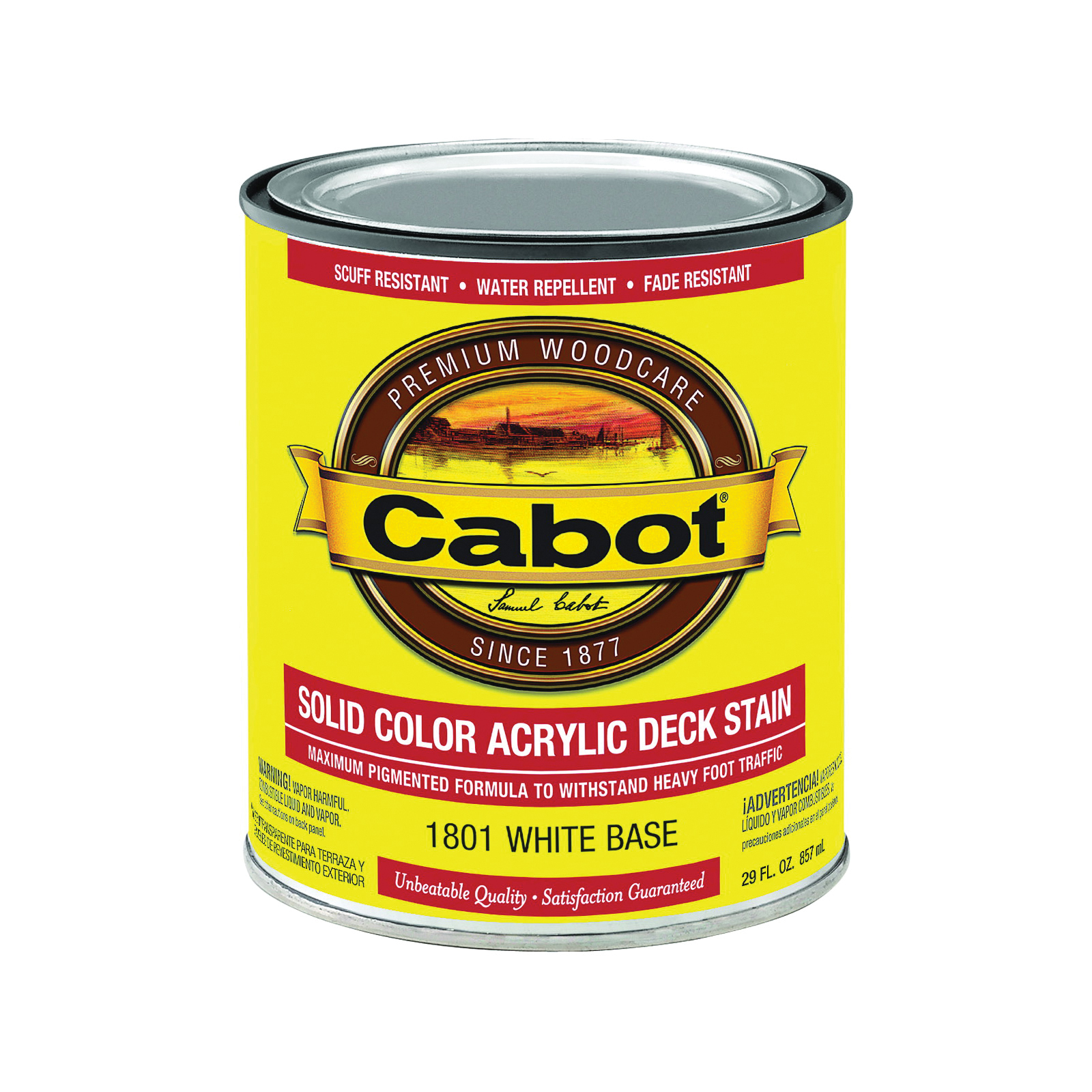 Picture of Cabot 1801 Decking Stain, Low-Lustre, White, Liquid, 1 qt