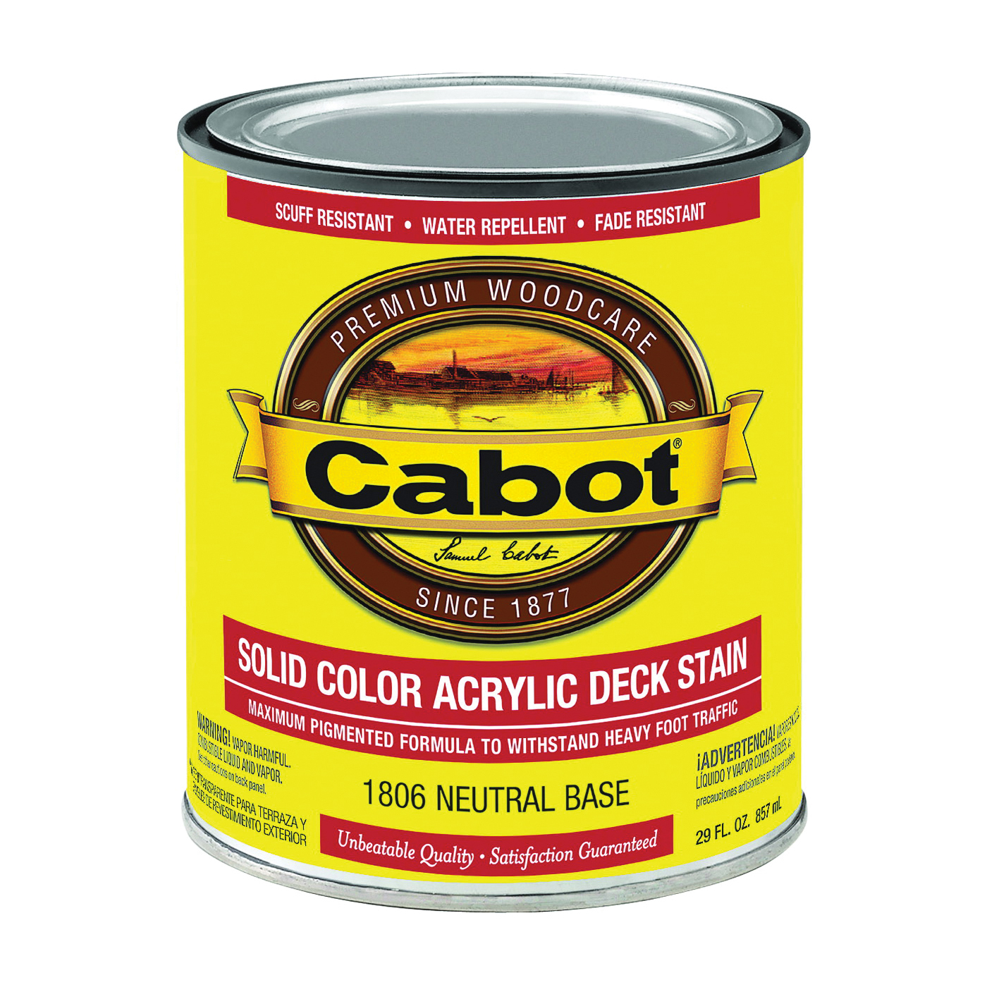 Picture of Cabot 1800 Series 1806 Decking Stain, Low-Luster, Neutral Base, Liquid, 1 qt, Can