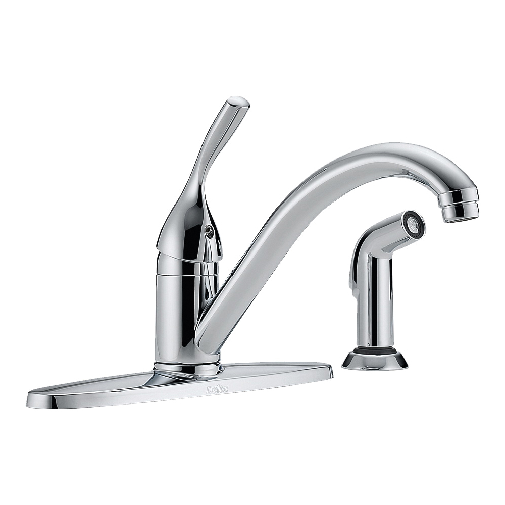 Picture of DELTA 400-DST Kitchen Faucet with Side Spray, 1.8 gpm, 1-Faucet Handle, Brass, Chrome, Deck Mounting