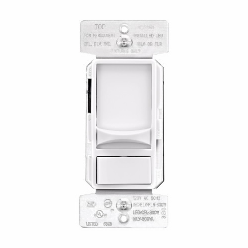 Picture of Eaton Wiring Devices SAL06P-W-K Slide Dimmer, 120 V, 300 W, CFL, Halogen, Incandescent, LED Lamp, 3-Way, White