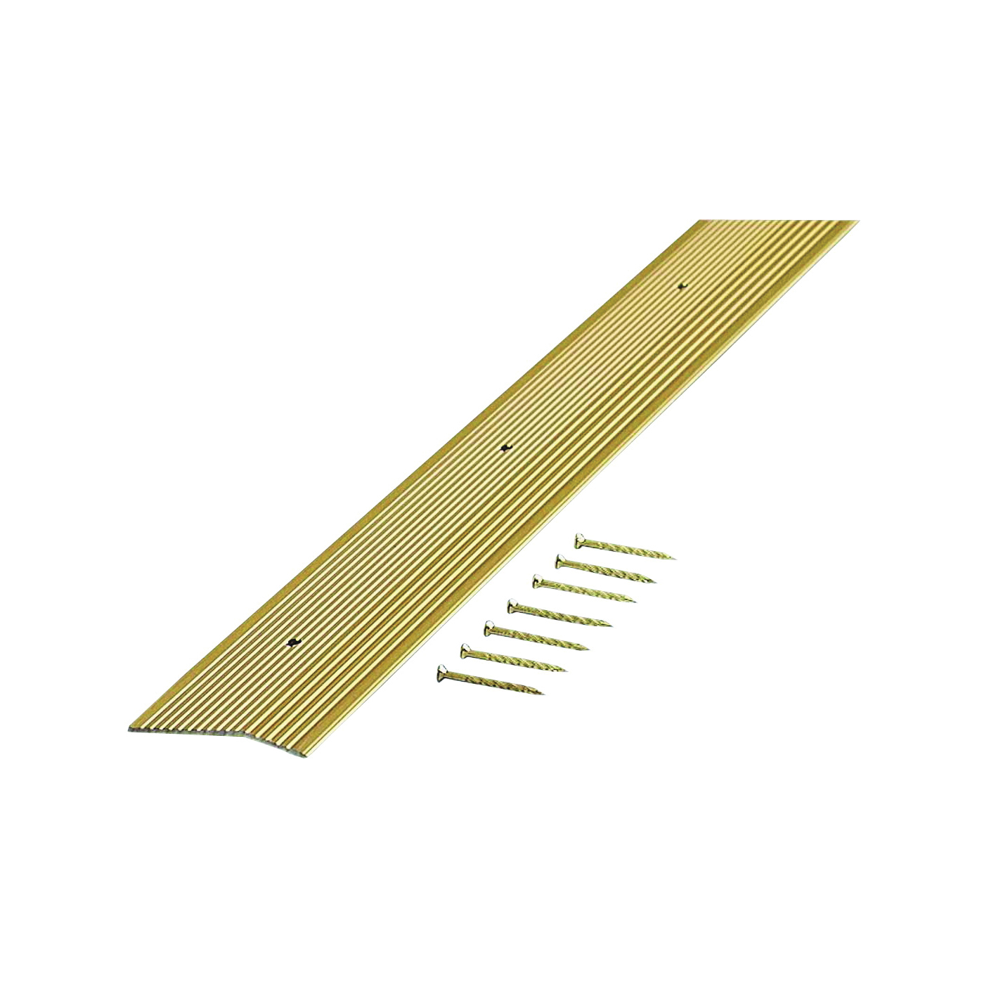 Picture of M-D 79244 Carpet Trim, 36 in L, 2 in W, Fluted Surface, Aluminum, Satin Brass