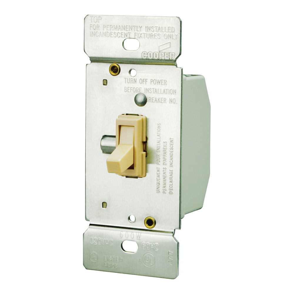 Picture of Eaton Wiring Devices TI306-V-K Toggle Dimmer, 5 A, 120 V, 600 W, CFL, Halogen, Incandescent, LED Lamp, 3-Way