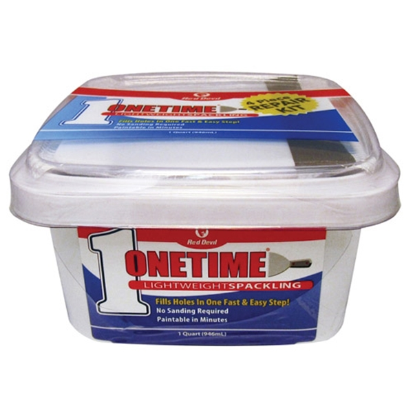 Picture of Red Devil Onetime 540 Series 0544KT Spackling Repair Kit, White, 1 qt, Tub