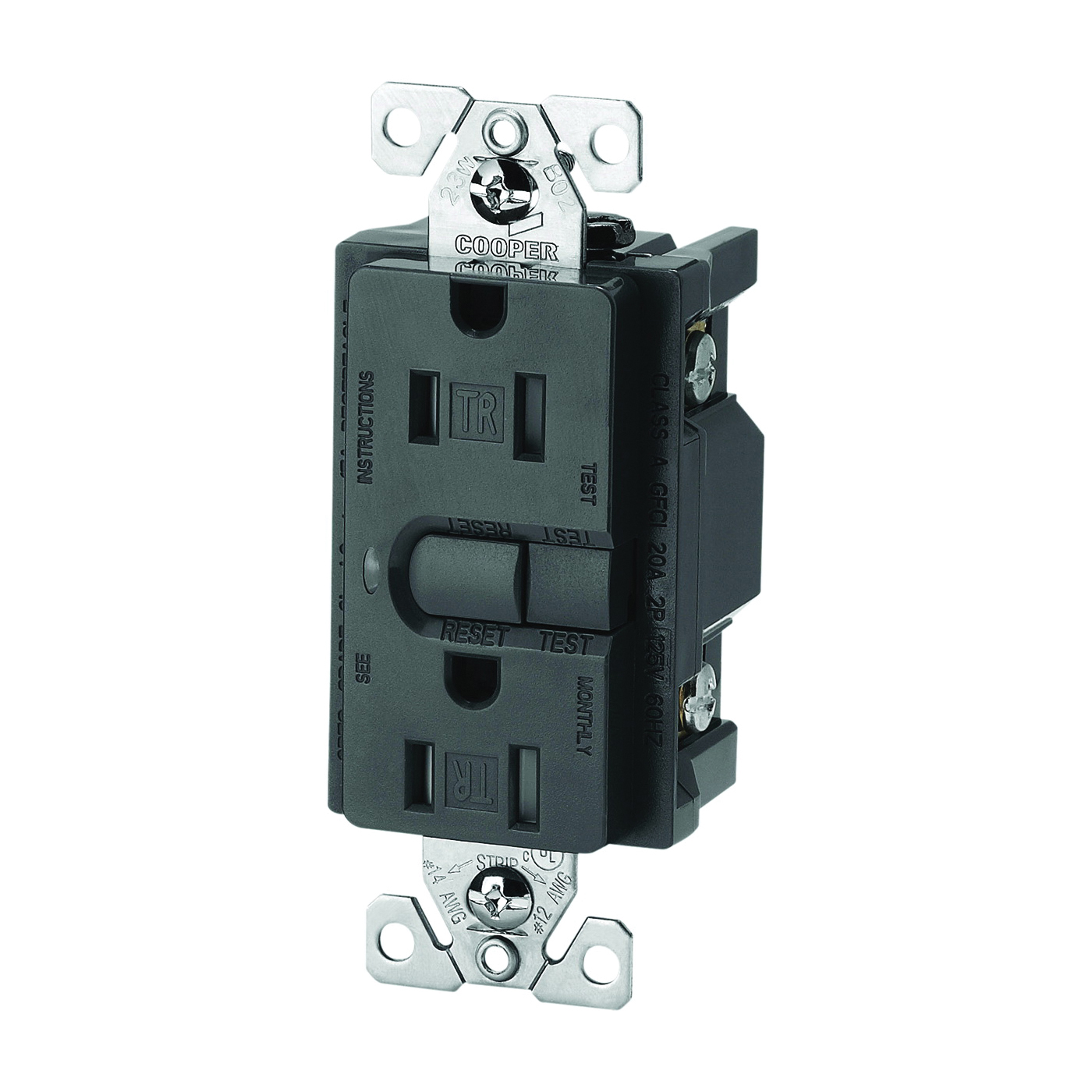 Picture of Eaton Wiring Devices 9566TRSSG Duplex GFCI Receptacle, 2-Pole, 15 A, 125 V, Back, Side Wiring, NEMA: 5-15R