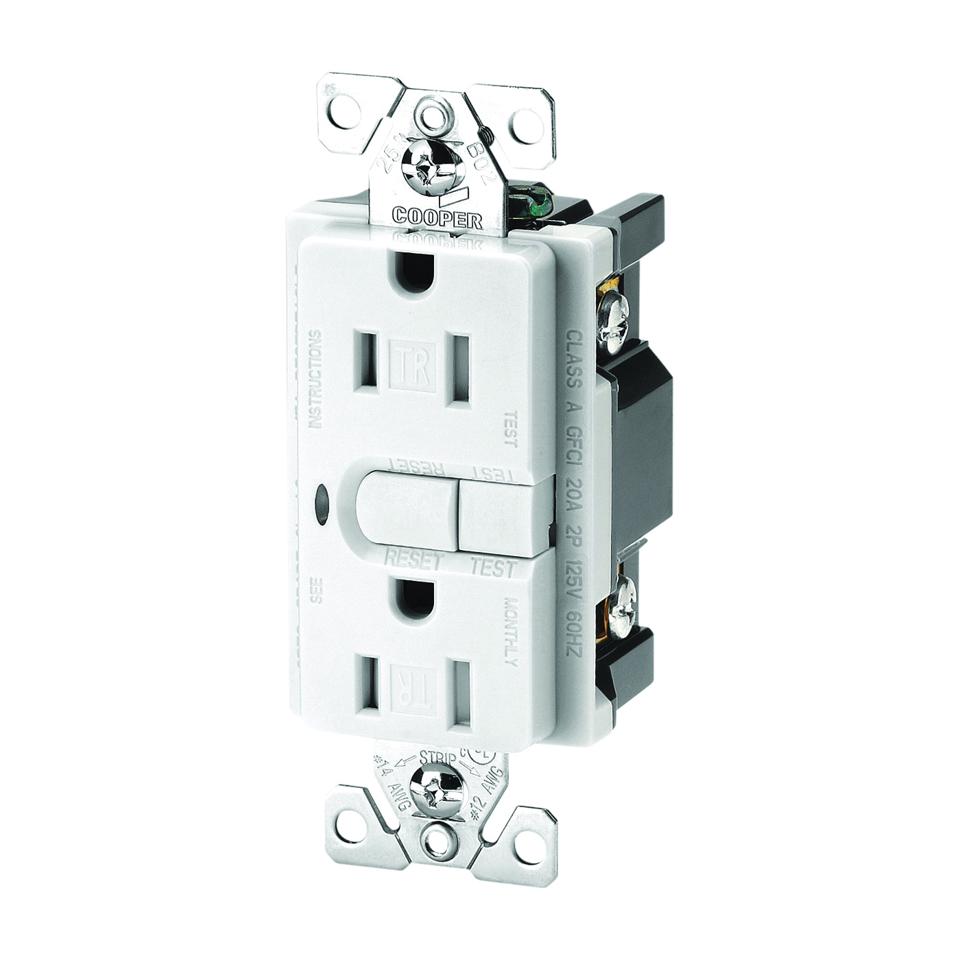 Picture of Eaton Wiring Devices 9566TRSWS Duplex GFCI Receptacle, 2-Pole, 15 A, 125 V, Back, Side Wiring, NEMA: 5-15R, White